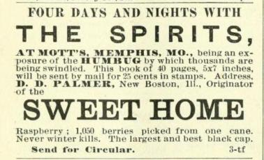 Actual ad for Spirits Book. This ad — aside from Palmer's biography — is the only physical proof we have now that his Spirit Book ever existed.