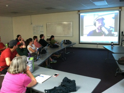 Talking the TIC to LACC's Philosophy Class via Skype.