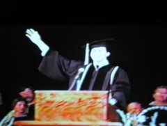 Giving the Class Address at LACC's 1995 Graduation Ceremony
