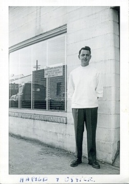 HT Hughes in front of his first office in Auburn, WA (1948)