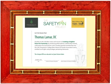 SCR Safety Pin Certificate